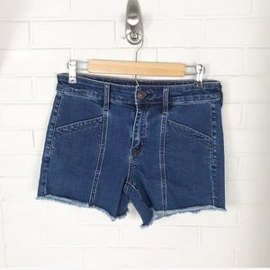 {American Eagle} Midi Structured Seam Denim Shorts
